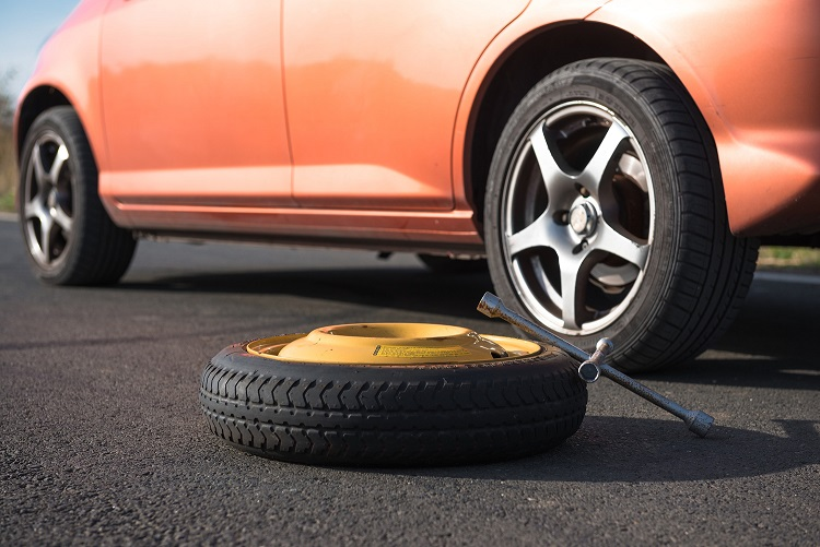 A car and a spare tyre